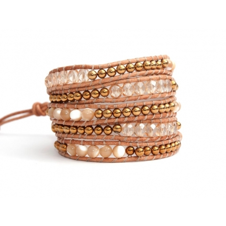 Mix Colored Wrap Bracelet For Woman - Precious Stones Onto Hazelnut Leather