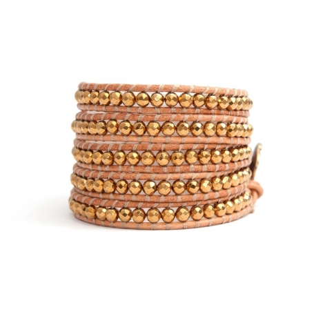 Gold Wrap Bracelet For Woman - Precious Stones Onto Natural Leather