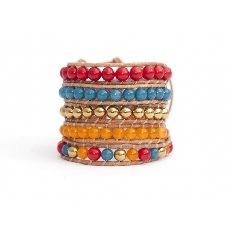 Mix Colored Wrap Bracelet For Woman - Precious Stones Onto Natural Light Leather