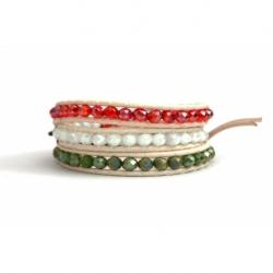 Bracciale donna 3 giri cristalli bandiera italiana cuoio bianco