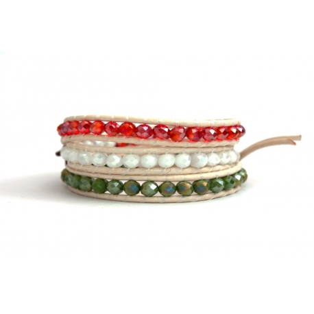 Mix Colored Wrap Bracelet For Woman - Crystals Onto White Leather