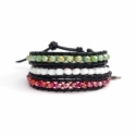 Mix Colored Wrap Bracelet For Woman - Crystals Onto Black Leather