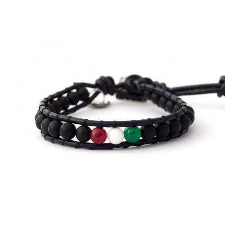 Italian Flag Wrap Bracelet For Man. Black Onyx Matte With Agate Onto Black Leather