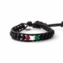 Italian Flag Wrap Bracelet For Man. Black Onyx Matte With Agate Onto Black Leather