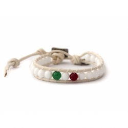 White Wrap Bracelet For Woman - Precious Stones Onto White Leather