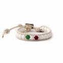 White Wrap Bracelet For Woman - Precious Stones Onto White Leather