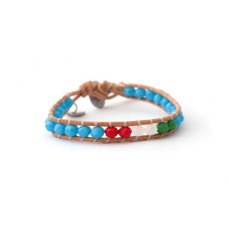 Mix Colored Wrap Bracelet For Woman - Crystals Onto Natural Light Leather