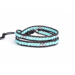 Double Wrap. Turquoise And Silver Hematite Wrap Bracelet For Man. Turquoise And Silver Hematite Onto Black Leather