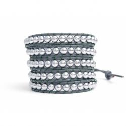 Bracciale donna ematite silver su cuoio grigio topo
