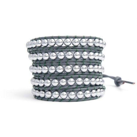 Grey Wrap Bracelet For Woman - Precious Stones Onto Grey Mouse Leather