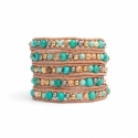 Turquoise And Jasper Stone Beaded Wrap Bracelet For Women. Precious Stone Onto Natural Leather