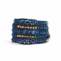 Blue Wrap Bracelet For Woman - Precious Stones Onto Black Leather