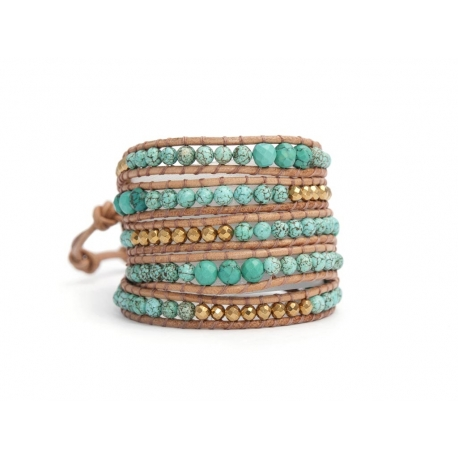 Turquoise And Gold Hematite Wrap Bracelet For Woman. Precious Stones Onto Natural Leather