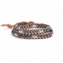 Silver And Grey Hematite Double Wrap Bracelet For Man. Precious Stones Onto Natural Color Leather With Black Thread