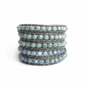 Grey Wrap Bracelet For Woman - Crystals Onto Dark Green Leather