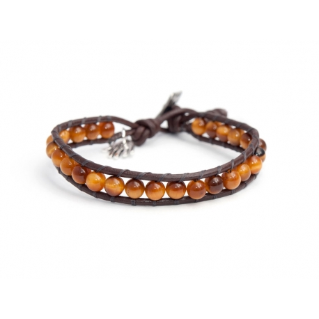 Brown Eye Tiger Precious Stones Wrap Bracelet For Man. Brown Eye Tiger Stones Onto Brown Leather