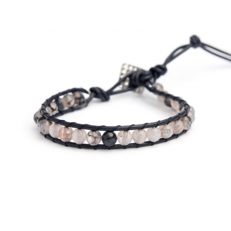 Grey Fire Agate Wrap Bracelet For Man. Grey Fire Agate Onto Black Leather