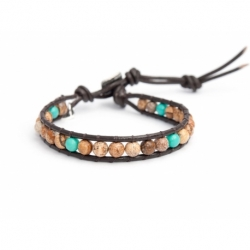 Picture Jasper And Turquoise Bracelet For Man. Picture Jasper And Turquoise Onto Dark Brown Leather