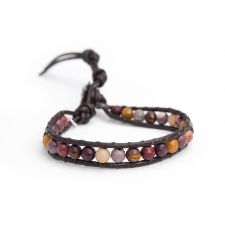 Mokaite Wrap Bracelet For Man. Mokaite Onto Dark Brown Leather