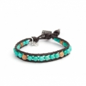 Turquoise And Picture Jasper Wrap Bracelet For Man. Turquoise And Picture Jasper Onto Dark Brown Leather
