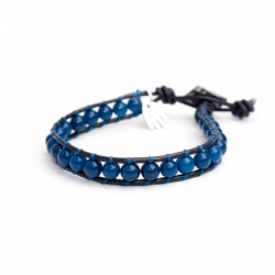 Dark blue Wrap Bracelet For Man. Dark Angelite Onto Black Leather