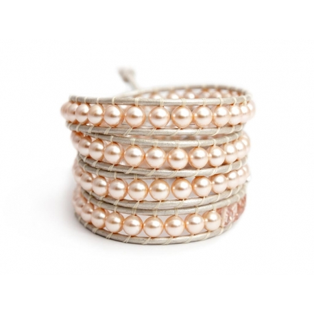 Peach Swarovski Pearls Wrap Bracelet For Woman. Spring Touch Onto A Pearl Leather