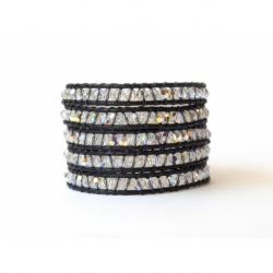 Bracciale donna cristalli Swarovski piccoli su cuoio nero