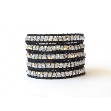 Fleagnt And Polished Swarovski Crystals Ab Wrap Bracelet For Woman. Cryspals Onto Black Leater