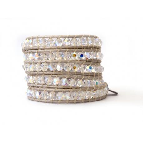 Precious Crystal Extra Brilliant Wrap Bracelet For Woman. Swarovski Crystals Ab Onto White Pearl Leather
