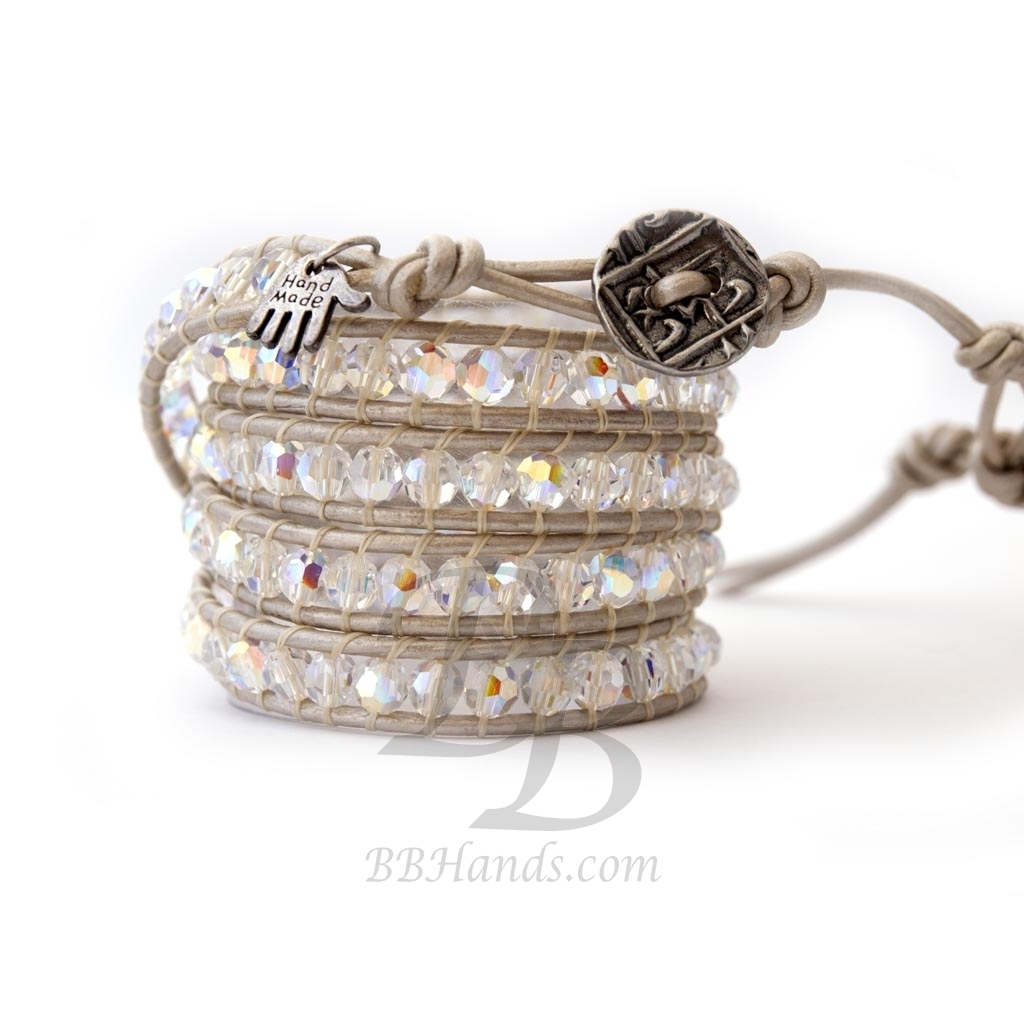 Precious Crystal Extra Brilliant Wrap Bracelet For Woman Swarovski Crystals Ab Onto White Pearl Leather