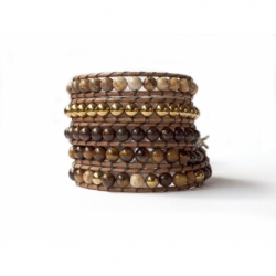 Brown Wrap Bracelet For Woman - Precious Stones Onto Natural Dark Leather