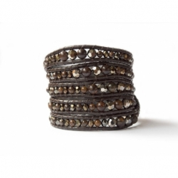 Bronzite And Swarovski Mix Wrap Bracelet For Woman. Precious Stones And Crystals Onto Dark Brown Leather
