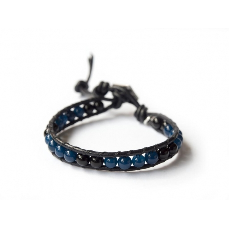 Black Onyx And Blue Agate Wrap Bracelet For Man. Black Onyx And Blue Agate Onto Black Leather