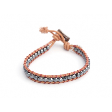 Grey Hematite 4Mm Beads Wrap Bracelet For Man. Grey Hematite Onto Natural Color Leather With Sienna Color Silk Thread