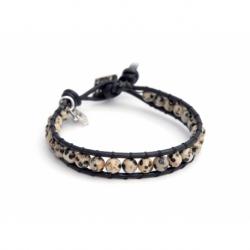 Jasper Dalmation Wrap Bracelet For Man. Jasper Dalmation Onto Black Leather