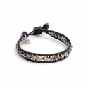 Jasper Dalmation Wrap Bracelet For Man. Jasper Dalmation Onto Black Leather