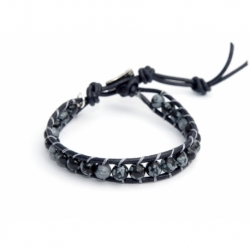 Snowflake Obsidian Wrap Bracelet For Man. Snowflake Obsidianonto Black Leather