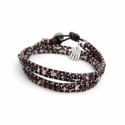 Double Wrap. Brown Mop Wrap Bracelet For Man. Brown Mop Onto Dark Brown Leather With Light Brown Thread