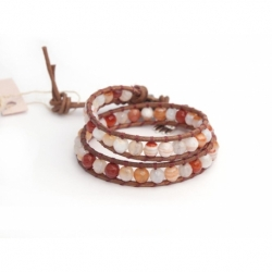 Pink Wrap Bracelet For Woman - Precious Stones Onto Natural Dark Leather