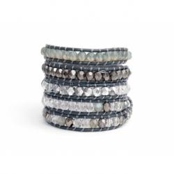Bracciale donna cristalli boreali su cuoio grigio topo