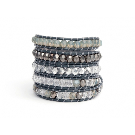 Wrap Bracelet For Woman - Crystals Onto Grey Mouse Leather