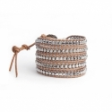 Grey Wrap Bracelet For Woman - Precious Stones Onto Natural Dark Leather