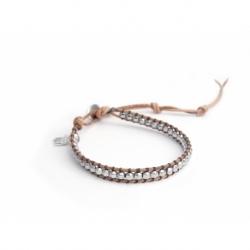 Hematite Silver Wrap Bracelet For Man. Hematite Silver Onto Natural Color Leather