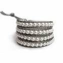 White Swarovski Wrap Bracelet For Woman. Elegant Pearls Onto Titanium Leather