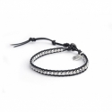 Hematite Silver Wrap Bracelet For Man. Hematite Silver Onto Black Leather