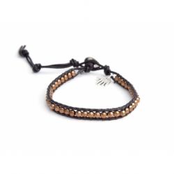 Bronze Hematite Wrap Bracelet For Man. Bronze Hematite Onto Dark Brown Leather