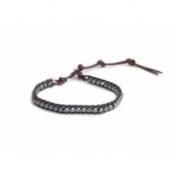 Hematite Grey Wrap Bracelet For Man. Hematite Grey Onto Tree Bark Brown Leather