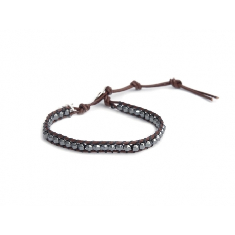 Hematite Grey Wrap Bracelet For Man. Hematite Grey Onto Tree Bark Brown Leather