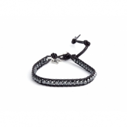 Grey Hematite 4Mm Beads Wrap Bracelet For Man. Grey Hematite Onto Black Leather