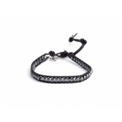Grey Hematite 4Mm Beads Wrap Bracelet For Man. Grey Hematite Onto Black Leather